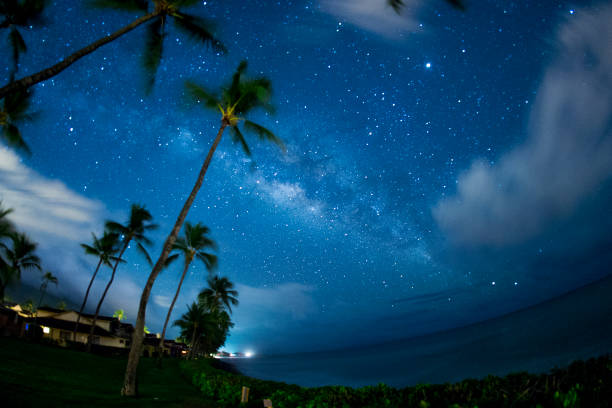 milky way and planet jupiter over the pacific ocean - astronomy stock pictures, royalty-free photos & images
