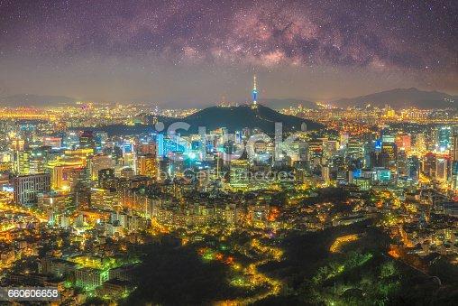 962814924 istock photo Milky way and seoul cityscape at night in Seoul,Korea 660606658
