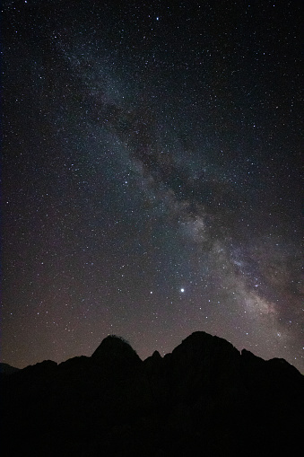 Milky way and silhouette of the hills