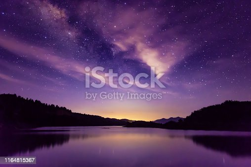 Scene of milky way and starry sky on high mountains in summer, South China