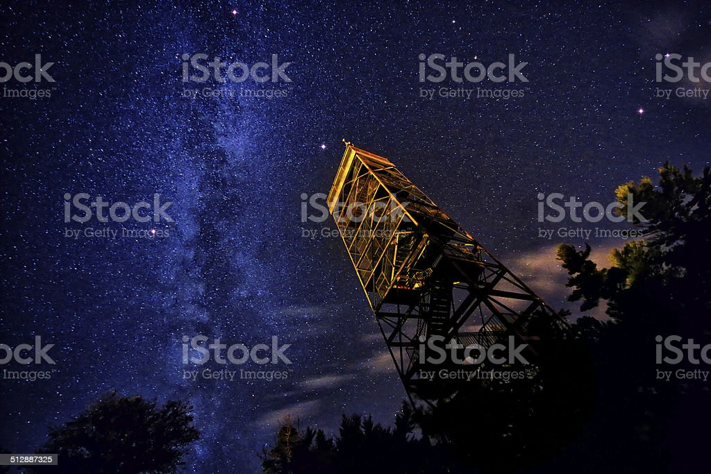 Milky Way and Summer Triangle stock photo