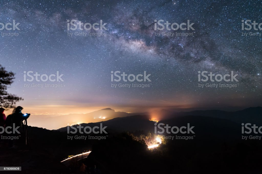 Milky way and Zodiac light on night sky above Doi Inthanon National park. Chiang mai, Thailand. stock photo