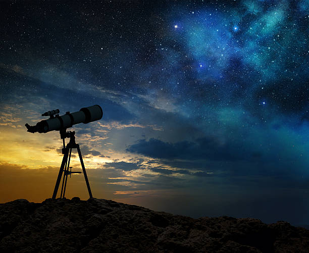 milky way at dawn and silhouette of a telescope milky way at dawn and silhouette of a telescope finding stock pictures, royalty-free photos & images