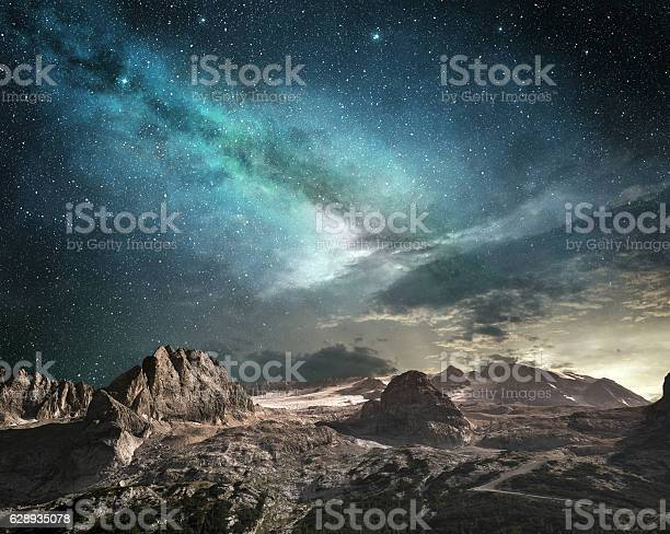 Photo of milky way at dawn in a mountain landscape