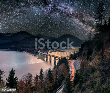 Long exposure of Sylvensteinsee at sunset in autumn with Milky Way