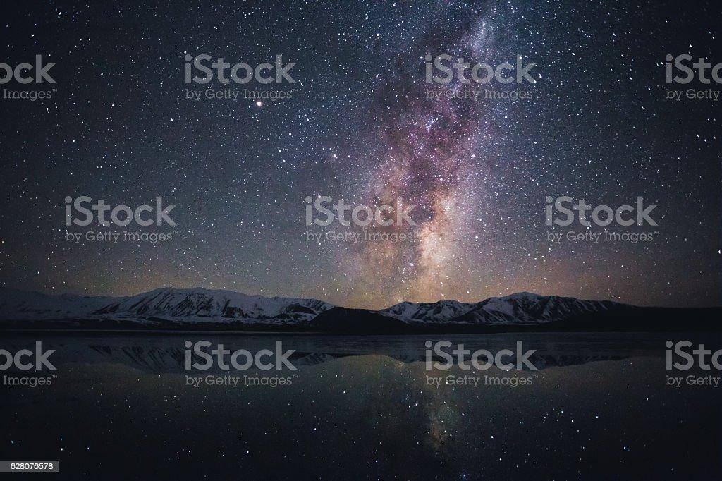 Milky way at Lake Tekapo, South Island, New Zealand stock photo