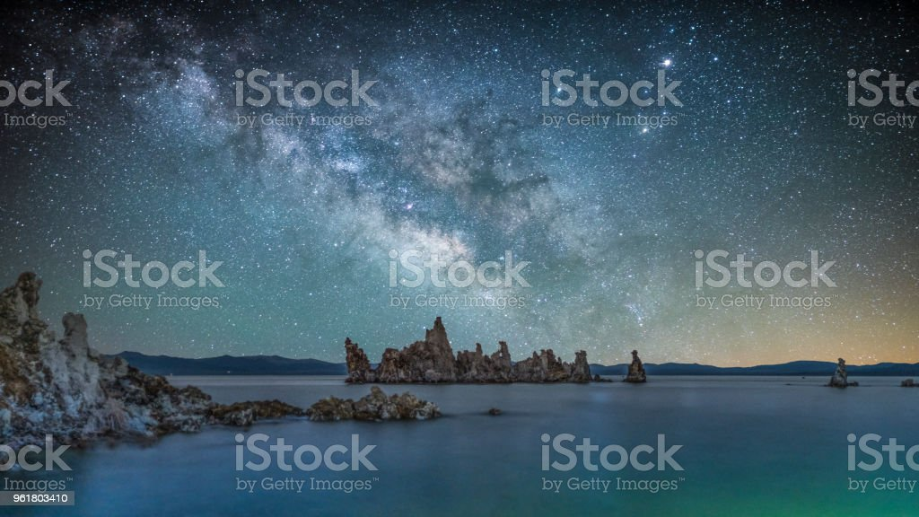 Milky Way at Mono Lake stock photo