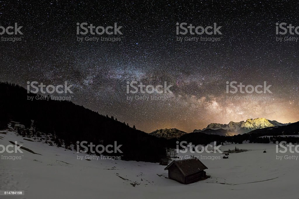 Milky Way  at mountain hut in Alps - Geroldssee stock photo