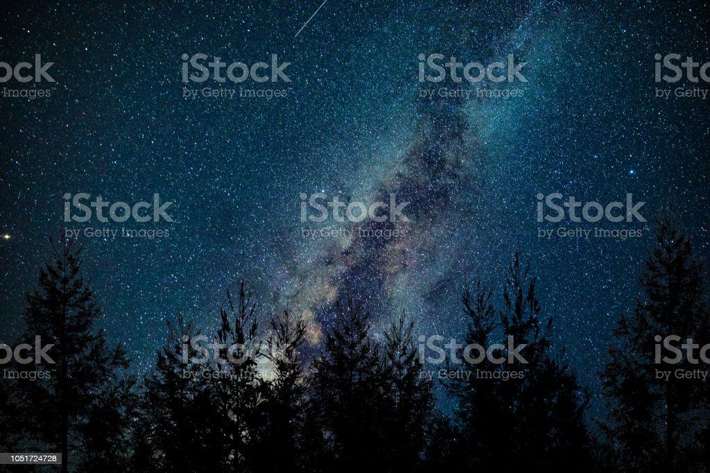 Milky Way at night stock photo