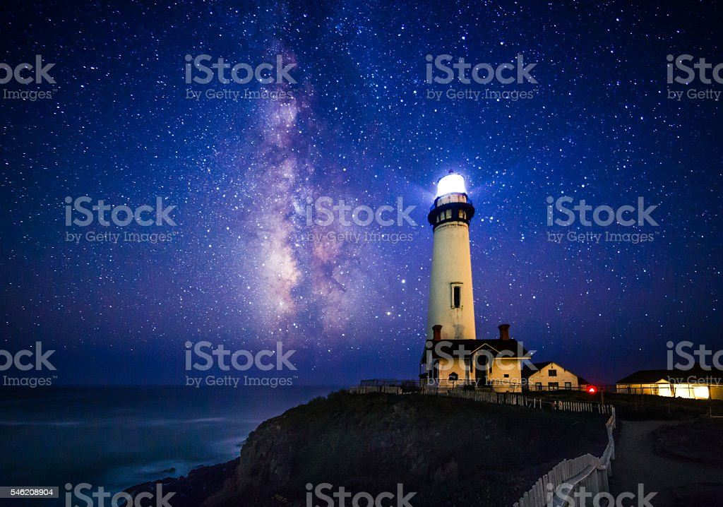 Milky Way at Pigeon Point Lighthouse, Pescadero, California stock photo