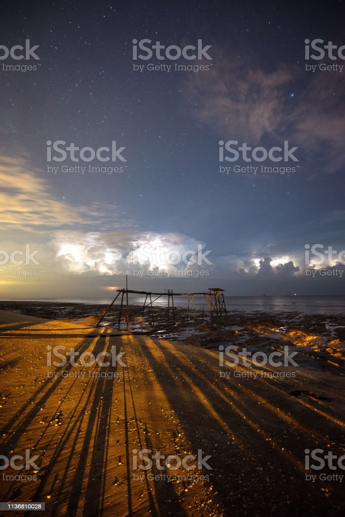 Milky way at Remis beach stock photo