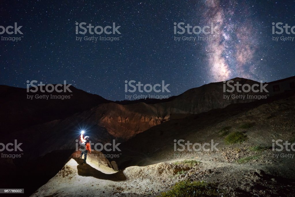 Milky Way at sham valley India stock photo