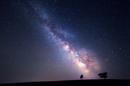 Milky Way Beautiful Summer Night Sky With Stars Background