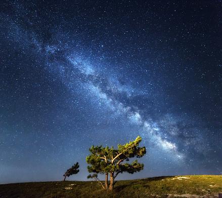 Milky Way Beautiful Summer Night Sky With Stars In Crimea