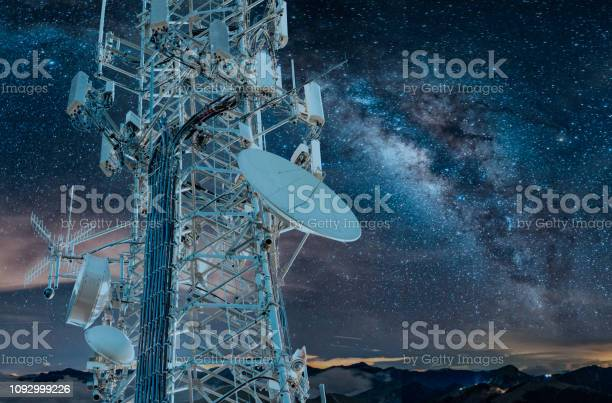 Photo of 5G Milky Way Cell Tower: Cellular communications tower for mobile phone and video data transmission