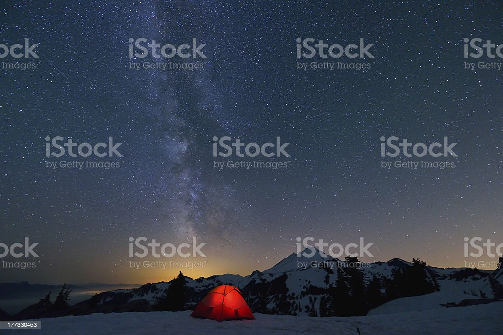 Milky Way constellation on mount baker royalty-free stock photo