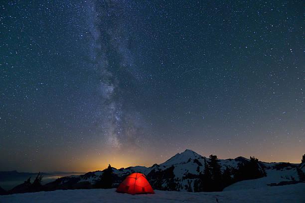 Milky Way constellation on mount baker stock photo