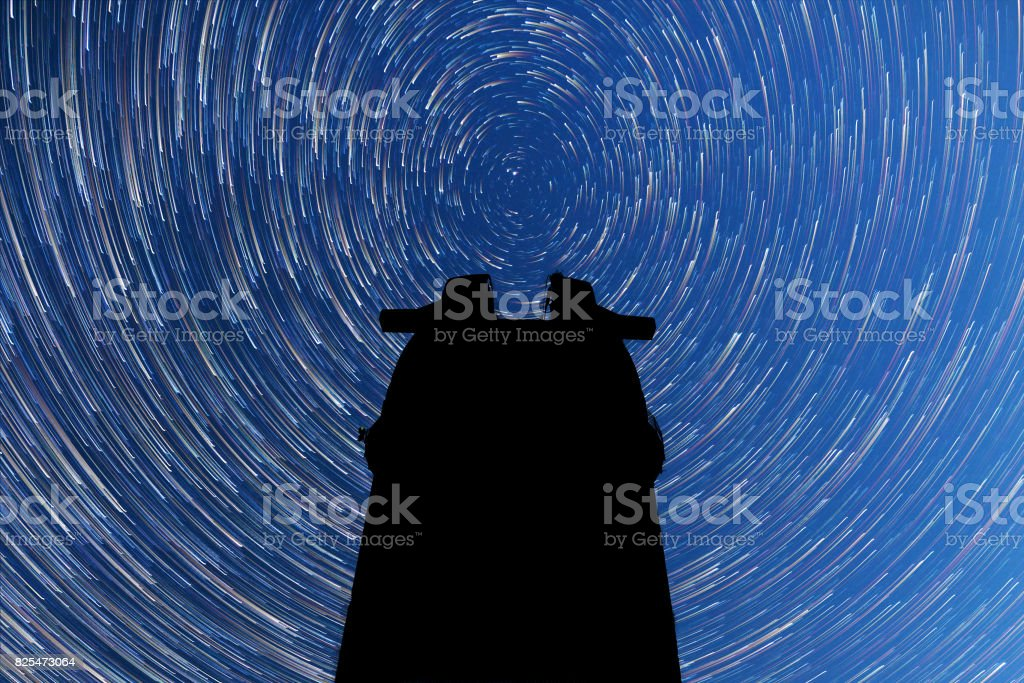 Milky Way. Falling stars. Comet mode. Observatory silhouette stock photo