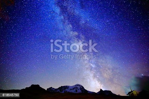 Milky Way galaxy above Monte Rosa, Swiss Alps at night