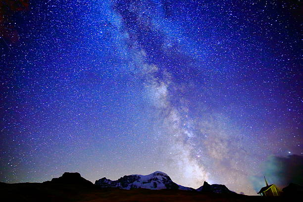 milky way galaxy above monte rosa, swiss alps at night - natural landmark stock pictures, royalty-free photos & images