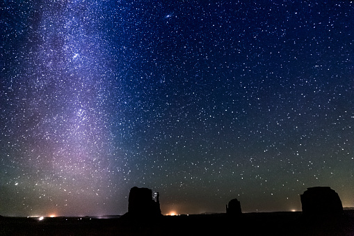 483422527 istock photo Milky Way galaxy above secluded Grand Canyon night sky - stars landscape at night, USA 1203259767