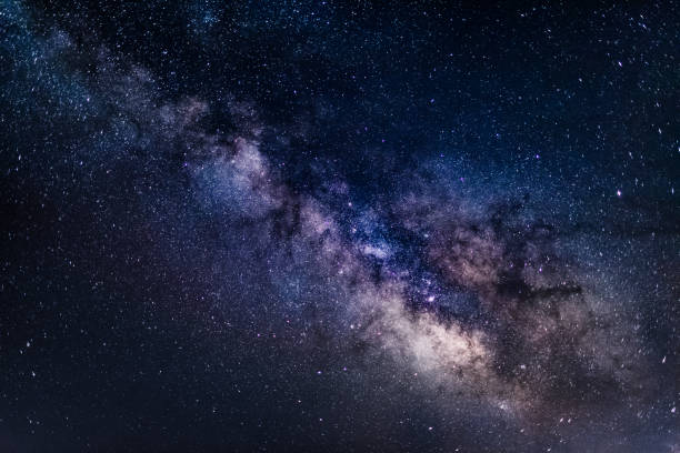 Milky Way Galaxy background - stock image Beautiful view of the core of the Milky Way Galaxy in all its beauty as seen on a clear dark night during summer in Northern Hemisphere from Europe. Long exposure for 30 seconds, shot on Canon EOS full frame system with 35mm prime lens. Cold white balance applied to emphasise the space like feel.  milky way stock pictures, royalty-free photos & images