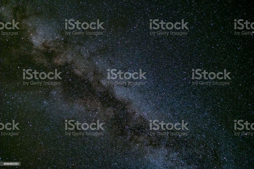 milky way galaxy, Long exposure photograph, with grain. stock photo