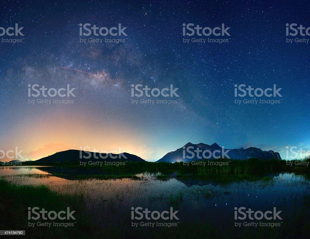 Milky Way Galaxy, Night Sky with Amazing Stars. stock photo