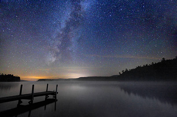 Milky Way  Galaxy over a Calm Lake in New Hampshire Milky Way Galaxy over a calm misty lake in the Lakes Region of New Hampshire at the foothills of the White Mountains. white mountain national forest stock pictures, royalty-free photos & images
