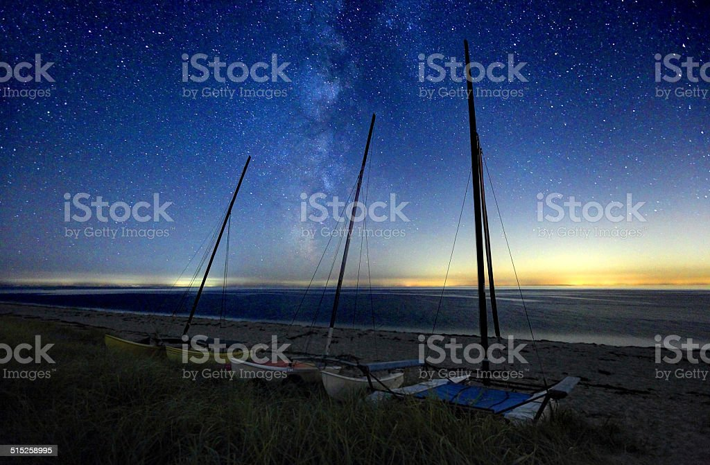 Milky Way Galaxy over a lonely beach on Cape Cod stock photo
