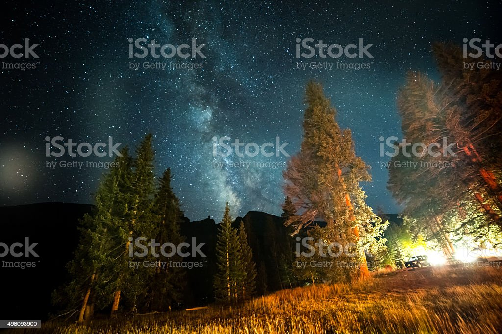 Milky Way Galaxy Over Campground stock photo