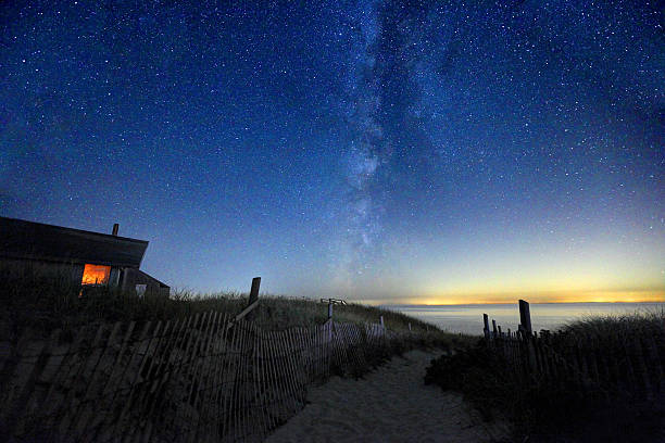 Milky Way Galaxy over Cape Cod Milky Way over a lonely secluded beach on Cape Cod in Truro, Massachusetts. Photo taken at night of the Milky Way Galaxy  along a scenic beach in Truro at low tide. Cape Cod is famous, worldwide, as a coastal vacation destination with some of New England's premier beach destinations provincetown stock pictures, royalty-free photos & images