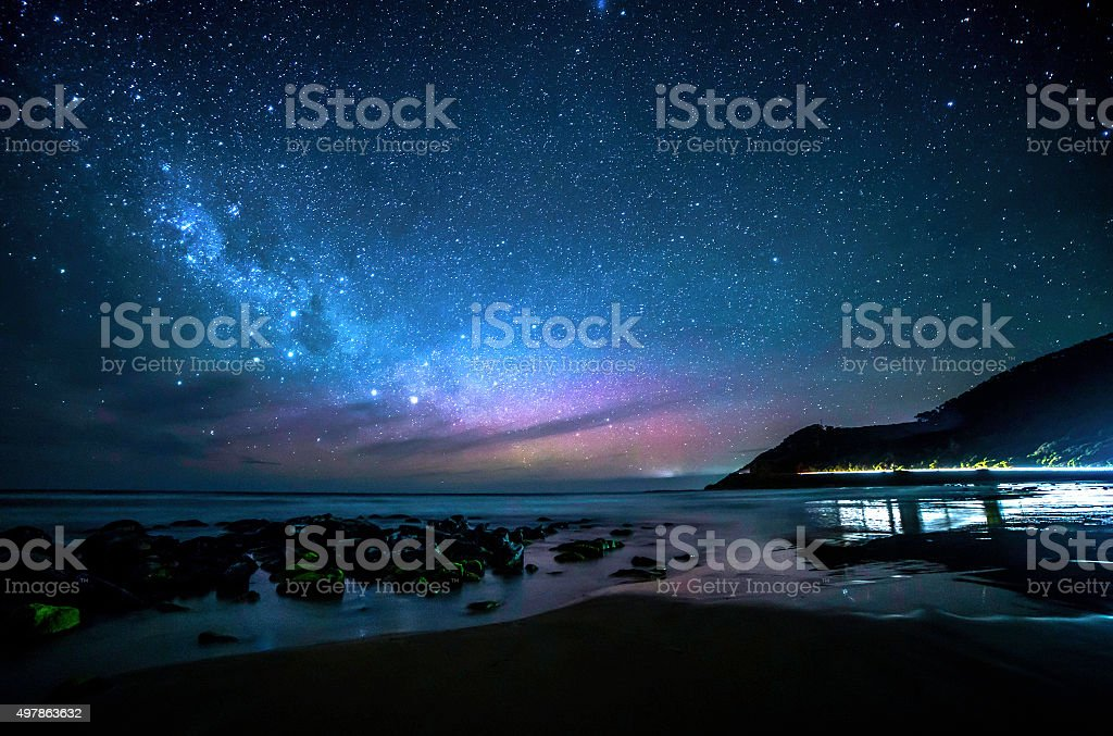 Milky Way Galaxy Over Great Ocean Road stock photo