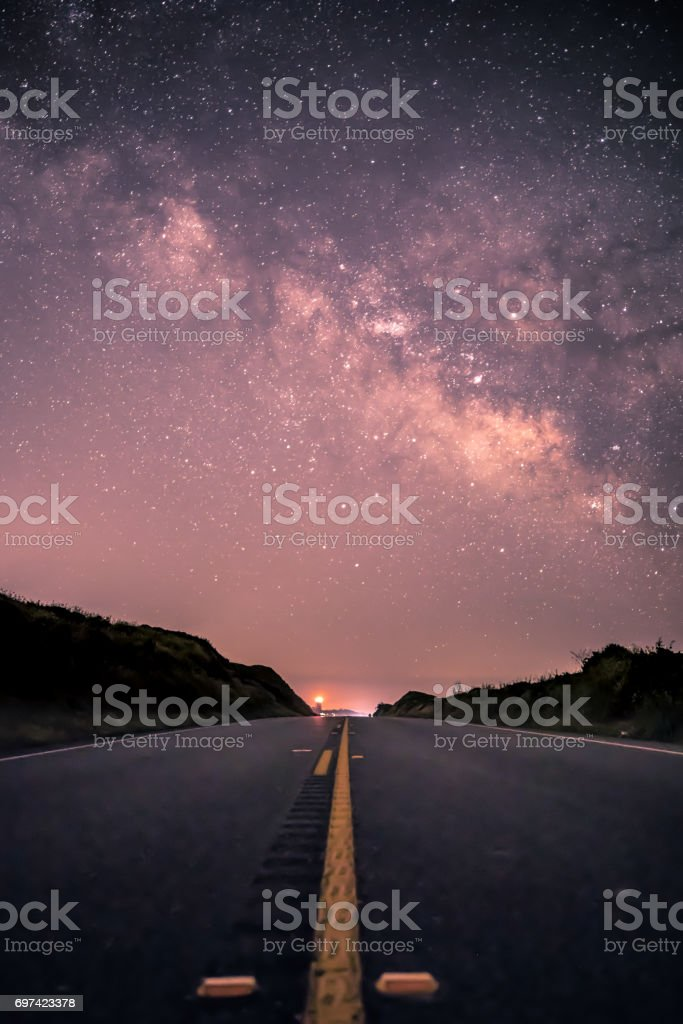 Milky Way Galaxy over Highway 1, California stock photo