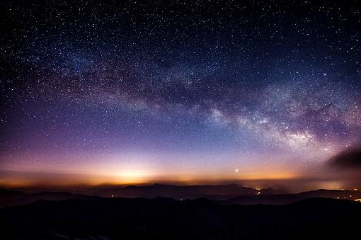 Milky Way Galaxy over Mountain at Night, Deogyusan mountain.