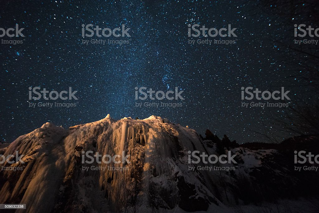 Milky Way Galaxy over the Colorado Rockies stock photo