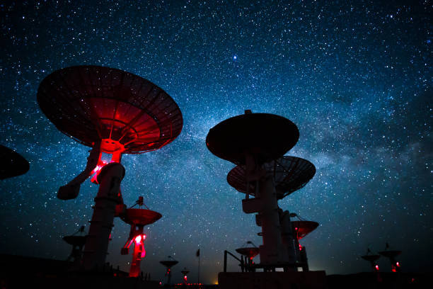 Milky Way galaxy over the satellite receiving station stock photo