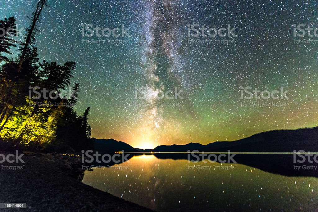 Milky Way Galaxy Stars in Sky Over Scenic Lake Montana stock photo