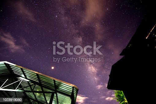 653506436 istock photo Milky way glaxy and stars with house roof top. 1023919050