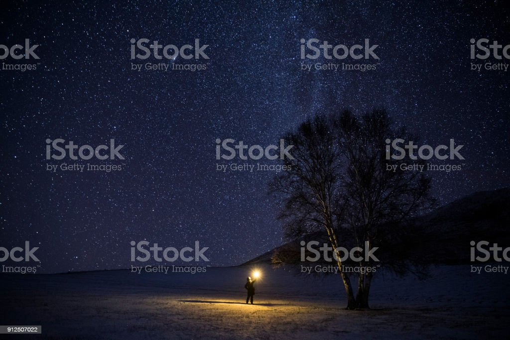 Milky way in the galaxy stock photo