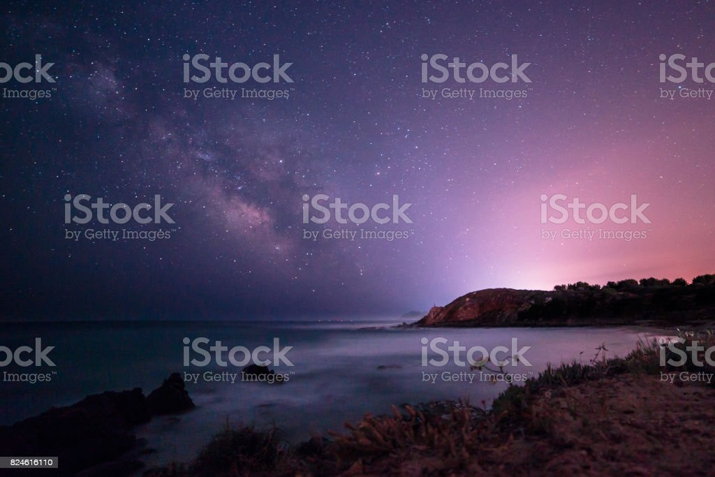 Milky way in the sky of Sardinia stock photo