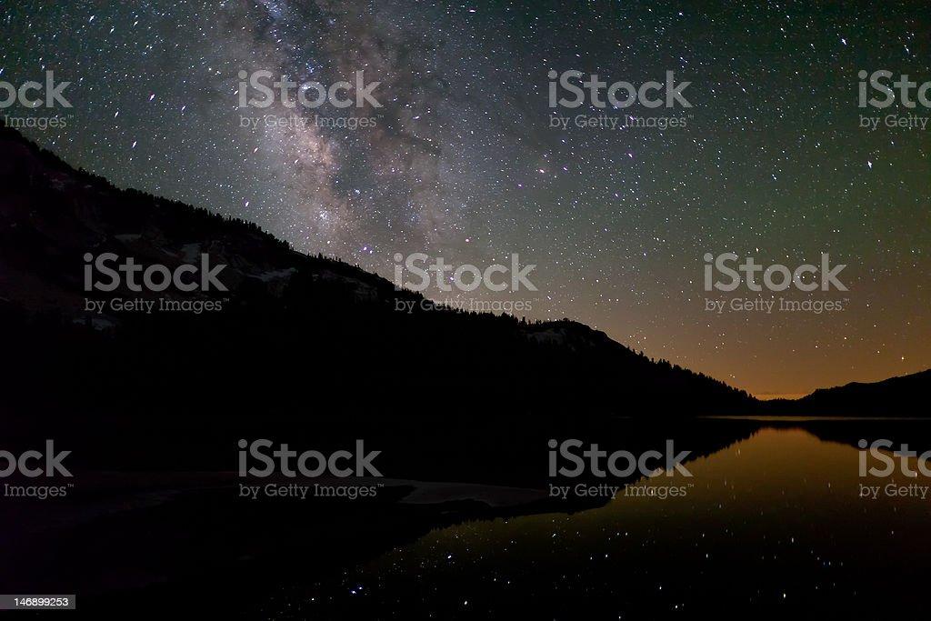 Milky Way looks down on Tenaya Lake royalty-free stock photo