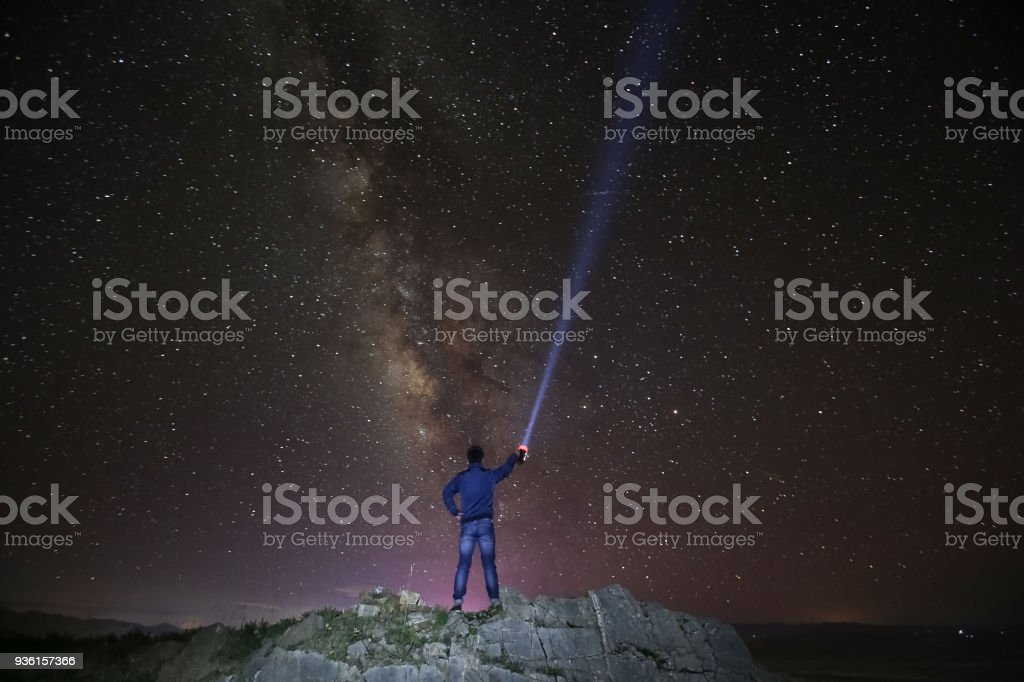 Milky Way. Night sky and figure of a standing man in Tibet stock photo