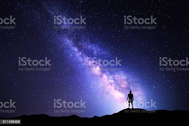 Photo of Milky Way. Night sky and silhouette of a standing man