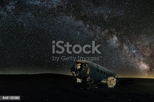 istock Milky Way over abandoned plane on southern Icelandic beach close to Vik - Iceland 848135390