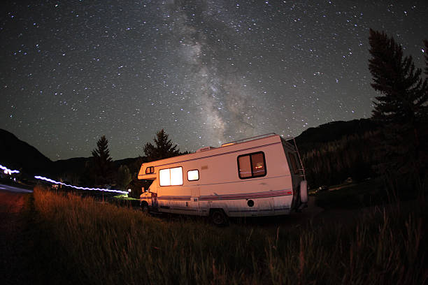 Milky Way Over An RV stock photo