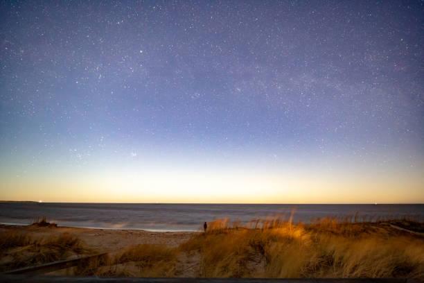 Milky way over Baltic sea stock photo