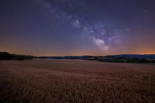 Milky Way over cereal fields in Onraita, Alava