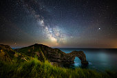 Night sky with milky way moving over the famous Durdle Door on the Jurassic Coastline of Dorset, UK