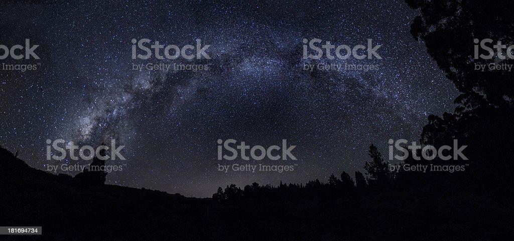 Milky Way over Haleakala National Park Panorama stock photo